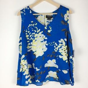 Liz Claiborne Career Petite Blue Sleeveless Blouse